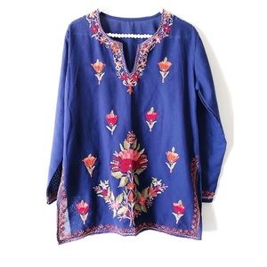 Purple Blue Floral-Embroidered Tunic | Sz  S/M